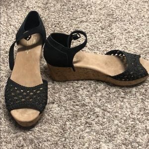 Toms Black Suede Wedge Sandal